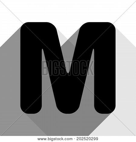 Letter M sign design template element. Vector. Black icon with two flat gray shadows on white background.