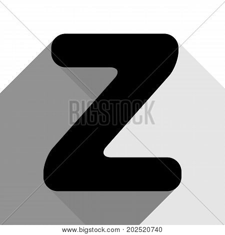 Letter Z sign design template element. Vector. Black icon with two flat gray shadows on white background.