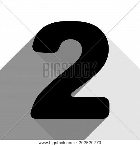 Number 2 sign design template elements. Vector. Black icon with two flat gray shadows on white background.