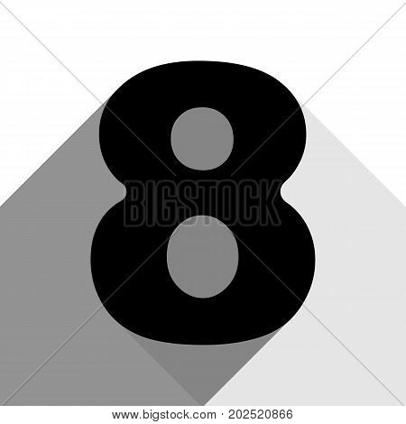 Number 8 sign design template element. Vector. Black icon with two flat gray shadows on white background.