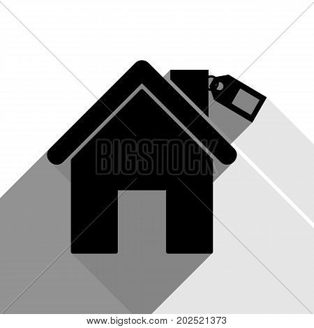 Home silhouette with tag. Vector. Black icon with two flat gray shadows on white background.