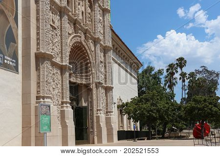 San Diego, California - August 31, 2017: The ornate facade of the San Diego Museum of Art in Balboa Park.