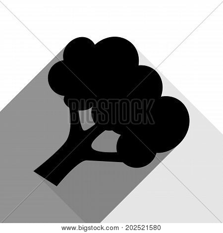 Broccoli branch sign. Vector. Black icon with two flat gray shadows on white background.