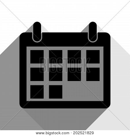 Calendar sign illustration. Vector. Black icon with two flat gray shadows on white background.
