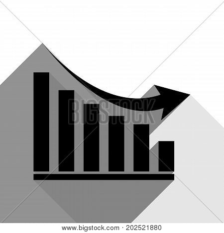 Declining graph sign. Vector. Black icon with two flat gray shadows on white background.