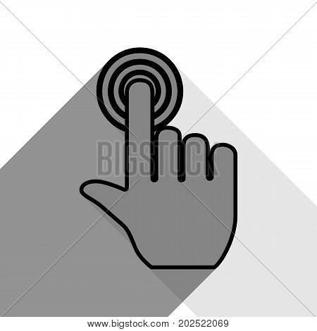 Hand click on button. Vector. Black icon with two flat gray shadows on white background.