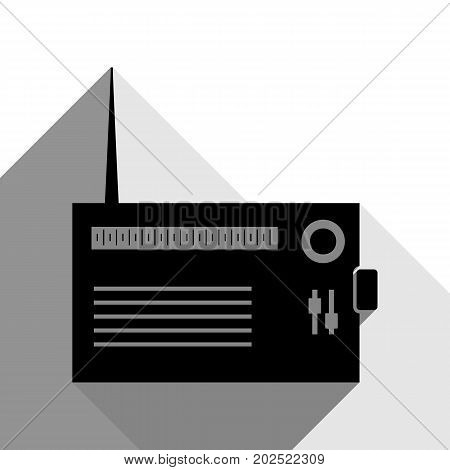 Radio sign illustration. Vector. Black icon with two flat gray shadows on white background.