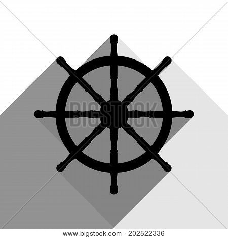 Ship wheel sign. Vector. Black icon with two flat gray shadows on white background.