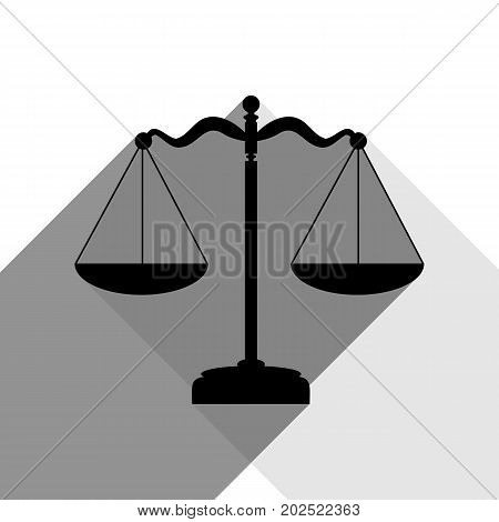 Scales balance sign. Vector. Black icon with two flat gray shadows on white background.