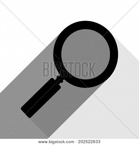 Zoom sign illustration. Vector. Black icon with two flat gray shadows on white background.