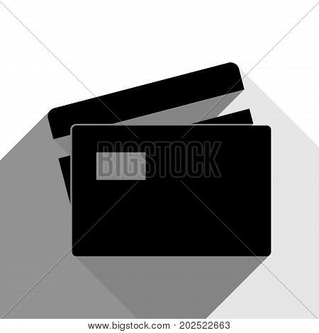 Credit Card sign. Vector. Black icon with two flat gray shadows on white background.