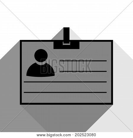 Id card sign. Vector. Black icon with two flat gray shadows on white background.