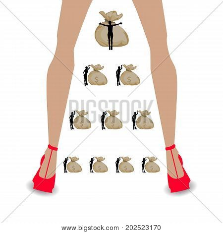 financial pyramid concept. illustrating career growth. long women's legs and bags of money