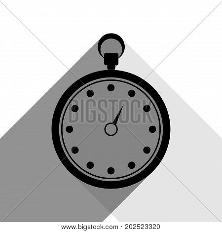 Stopwatch sign illustration. Vector. Black icon with two flat gray shadows on white background.