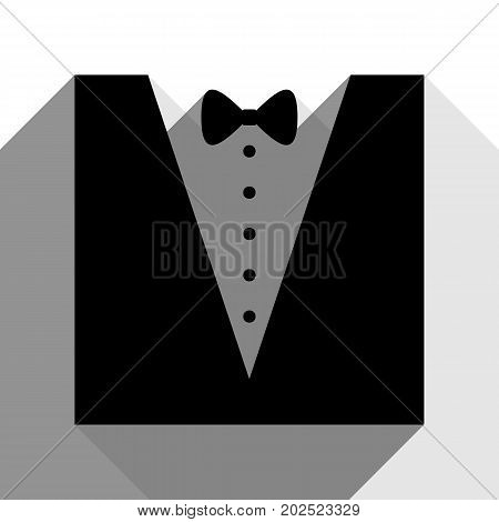 Tuxedo with bow silhouette. Vector. Black icon with two flat gray shadows on white background.