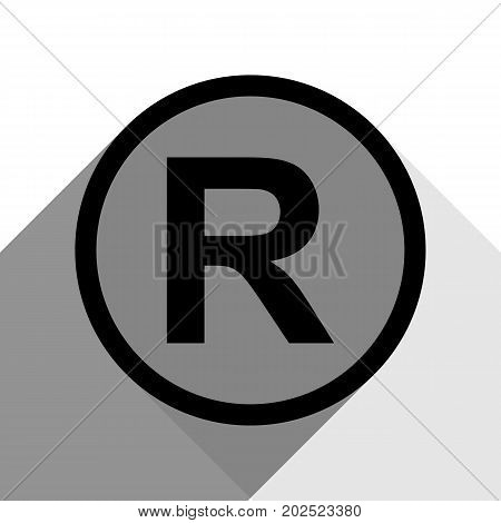 Registered Trademark sign. Vector. Black icon with two flat gray shadows on white background.