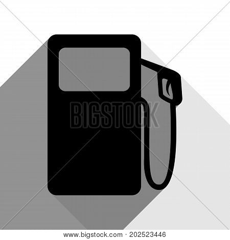 Gas pump sign. Vector. Black icon with two flat gray shadows on white background.