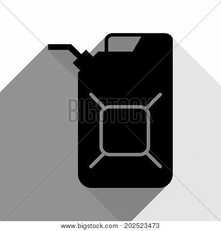 Jerrycan oil sign. Jerry can oil sign. Vector. Black icon with two flat gray shadows on white background.