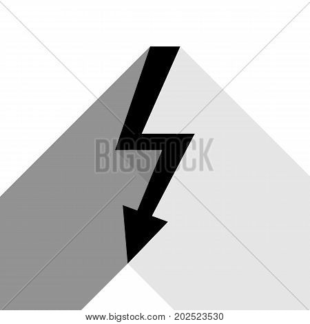 High voltage danger sign. Vector. Black icon with two flat gray shadows on white background.