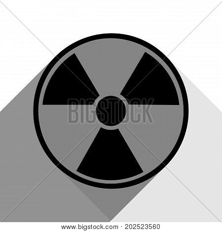 Radiation Round sign. Vector. Black icon with two flat gray shadows on white background.