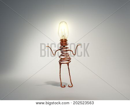 A quirky light globe robot with an illuminated head shrugs. The picture is reflective of quirkiness, not knowing, confusion, friendliness, cuteness, technology, computers, illumination, light, copper, and caricature.