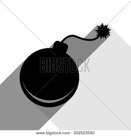 Bomb sign illustration. Vector. Black icon with two flat gray shadows on white background.