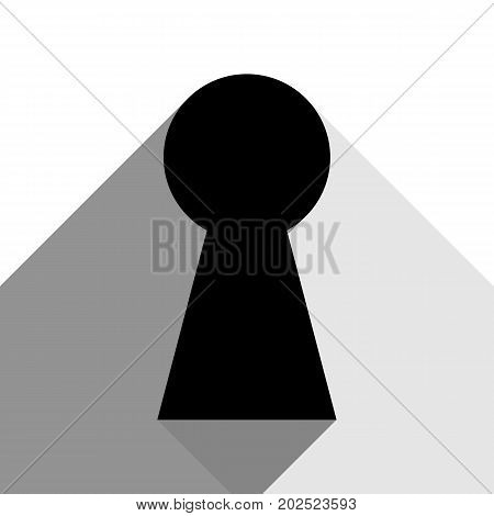 Keyhole sign illustration. Vector. Black icon with two flat gray shadows on white background.
