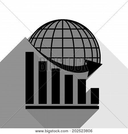 Declining graph with earth. Vector. Black icon with two flat gray shadows on white background.
