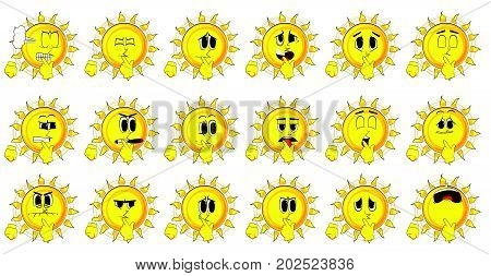 Cartoon sun holding finger front of his mouth. Collection with sad faces. Expressions vector set.