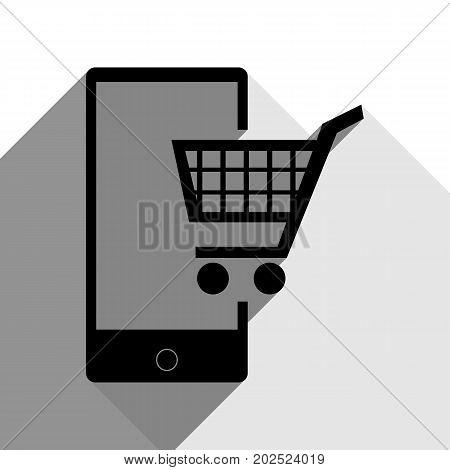 Shopping on smart phone sign. Vector. Black icon with two flat gray shadows on white background.