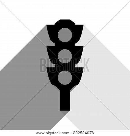 Traffic light sign. Vector. Black icon with two flat gray shadows on white background.