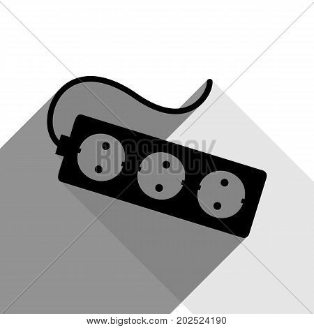 Electric extension plug sign. Vector. Black icon with two flat gray shadows on white background.