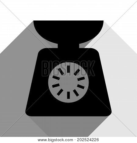 Kitchen scales sign. Vector. Black icon with two flat gray shadows on white background.