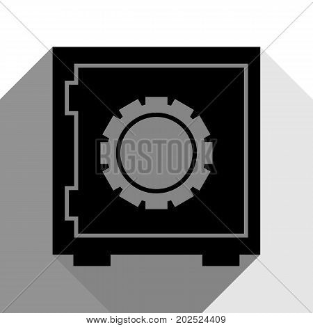 Safe sign illustration, crib, vault, lock box. Vector. Black icon with two flat gray shadows on white background.