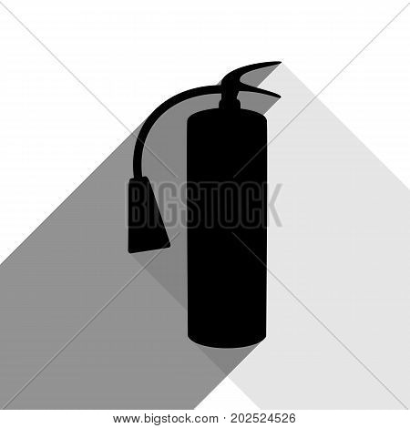 Fire extinguisher sign. Vector. Black icon with two flat gray shadows on white background.