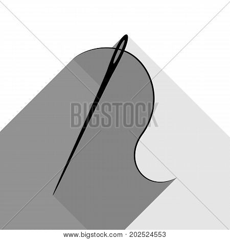 Needle with thread. Sewing needle, needle for sewing. Vector. Black icon with two flat gray shadows on white background.