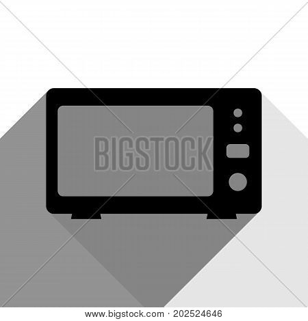 Microwave sign illustration. Vector. Black icon with two flat gray shadows on white background.