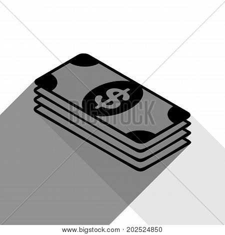 Bank Note dollar sign. Vector. Black icon with two flat gray shadows on white background.