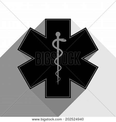 Medical symbol of the Emergency or Star of Life with border. Vector. Black icon with two flat gray shadows on white background.