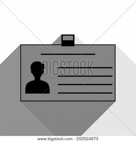 Identification card sign. Vector. Black icon with two flat gray shadows on white background.