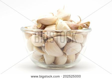 Glass cup of rood garlic on white background