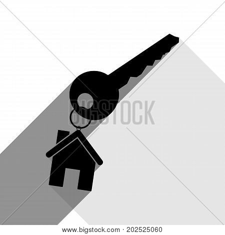 key with keychain as an house sign. Vector. Black icon with two flat gray shadows on white background.