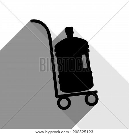 Plastic bottle silhouette with water. Big bottle of water on track. Vector. Black icon with two flat gray shadows on white background.