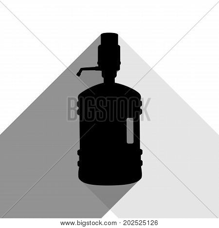 Plastic bottle silhouette with water and siphon. Vector. Black icon with two flat gray shadows on white background.