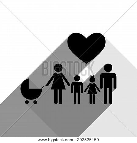 Family sign with heart. Husband and wife are kept children's hands. Vector. Black icon with two flat gray shadows on white background.