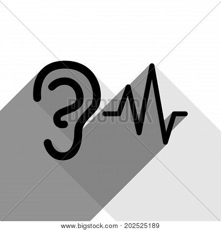 Ear hearing sound sign. Vector. Black icon with two flat gray shadows on white background.