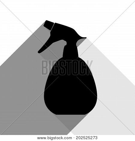 Spray bottle for cleaning sign. Vector. Black icon with two flat gray shadows on white background.