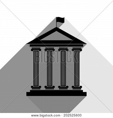 Historical building with flag. Vector. Black icon with two flat gray shadows on white background.