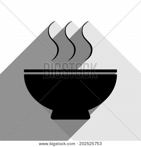 Soup sign. Vector. Black icon with two flat gray shadows on white background.