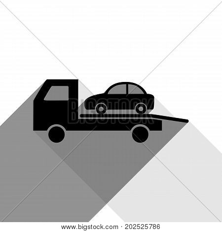 Tow car evacuation sign. Vector. Black icon with two flat gray shadows on white background.